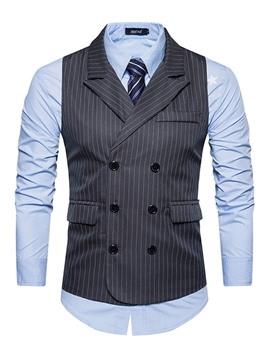 ericdress vogue lapel stripe double breasted slim veste homme