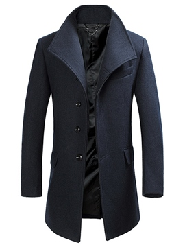 Ericdress Plain Single-Breasted Elegant Slim Men's Woolen Coat