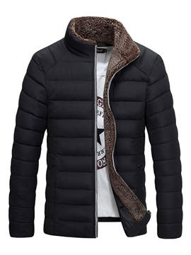 ericdress plain stand collar polyester verdicken warme beiläufige männer wintermantel