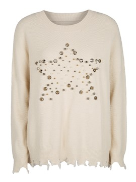 Loose Beading Decorative Women's Sweater