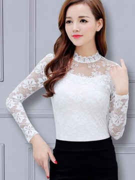 Ericdress See-Through Patchwork Lace Blouse
