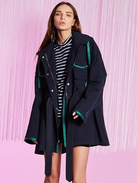 Ericdress Plain Zipper Hooded Trench Coat