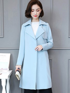 Ericdress Solid Color Loose Mid-Length Trench Coat