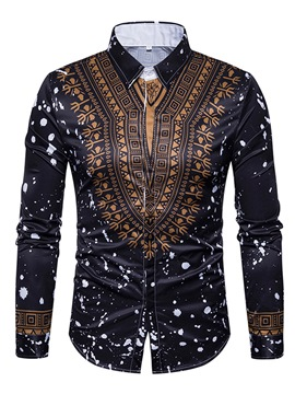Ericdress Single-Breasted Lapel African Print Unique Slim Men's Shirt