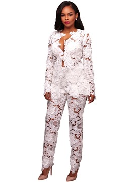 Ericdress Lace Patchwork Jacket and Pants Women's Suit