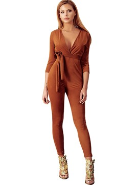 Ericdress Lace-Up Plain Slim Jumpsuits Pants