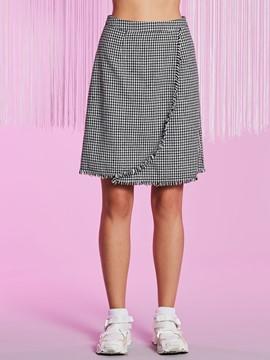 Knee-Length Houndstooth Tassel Patchwork Women's Skirt