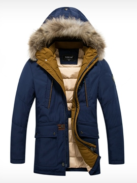 Ericdress Hooded Faux Fur Collar Thicken Warm Men's Coat