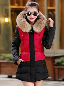 Ericdress Color Block Fur Collar Zipper Coat