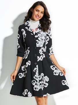 Ericdress Mid-Length Floral Print Coat