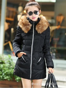 Ericdress Mid-Length Fur Hooded Thick Coat