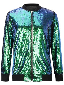 Ericdresss Plain Sequin Zipper Jacket