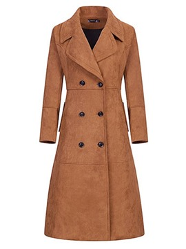 Ericdress Lapel Slim Double-Breasted Trench Coat
