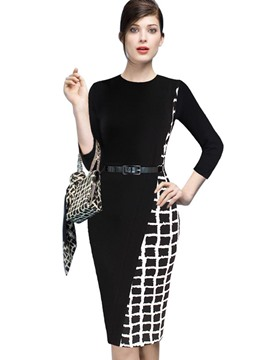 Ericdress Patchwork 3/4 Length Sleeves Belt Bodycon Dress
