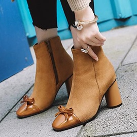 Ericdress Unique Plain High Heel Ankle Boots with Bowknot