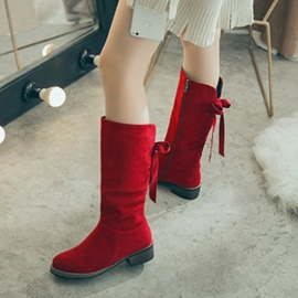 Ericdress Ribbon Plain Round Toe Flat Boots