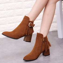 Ericdress Fringe Plain Chunky Heel Ankle Boots with Buckle