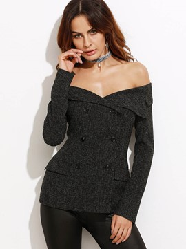 Ericdress Drop Shoulder Slim Double-Breasted Blazer