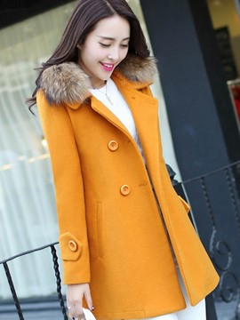 Ericdress Mid-Length Plain Double-Breasted Fur Coat