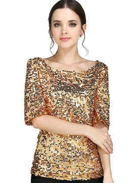 Ericdress Sequin Plain Half Sleeve T-shirt