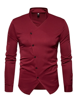 Ericdress Plain Cotton Stand Collar Long Sleeve Slim Men's Shirt