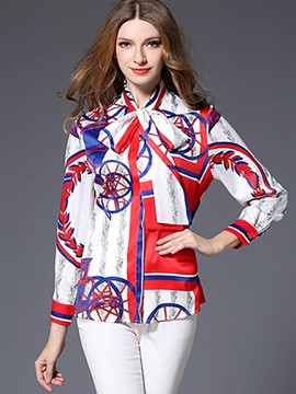 Ericdress Geometric Print Single-Breasted Blouse