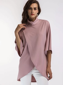 Ericdress Loose Turtleneck Half Sleeve T-shirt