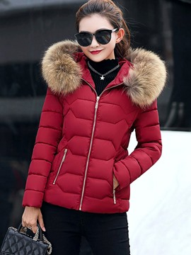 Ericdress Plain Slim Puffer Coat