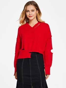 Ericdress V-Neck Hollow Plain Pullover Sweater