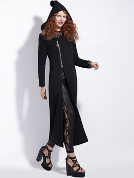 Ericdress Zipper Hoodie Long Sleeves Maxi Dress