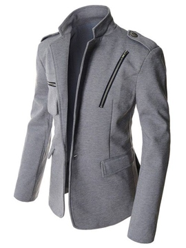 Ericdress Plain Stand Collar Woolen Slim Vogue Men's Jacket