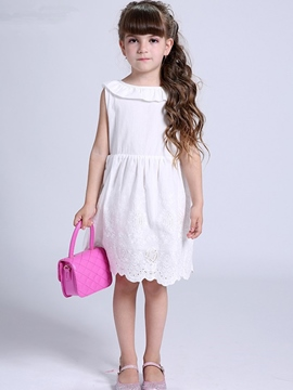 Ericdress Lace Backless Plain Girls Dress With Bowknot