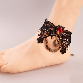 Ericdress Gothic Black Lace Vintage Anklet for Women