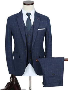 Ericdress Slim Fit Notched Lapel Plaid Three-Piece Modern Men's Suit