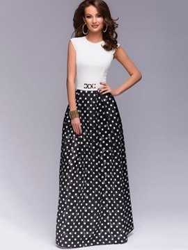 ericdress polka dots couleur bloc expansion maxi robe