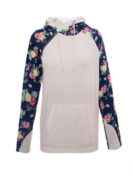 Ericdress Patchwork Pocket Floral Print Cool Hoodie
