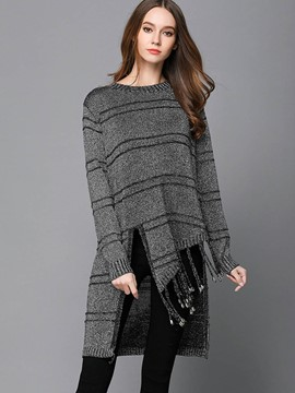 Ericdress Stripe Tassel Mid-Length Knitwear