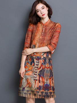 Ericdress Print Knee-Length Straight Casual Dress