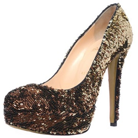 Gradient Sequins Round Toe Pumps