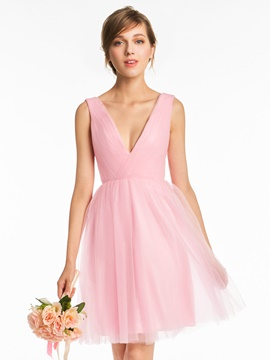 Ericdress V Neck A Line Tulle Short Sleeves Bridesmaid Dress