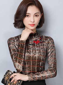 Ericdress Slim Floral Embroidery T-shirt