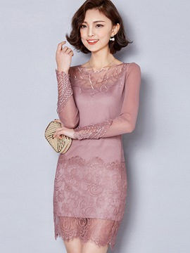 Ericdress See-Through Lace Long Sleeve Bodycon Dress