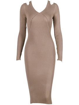 Ericdress Long Sleeve Hollow Mid-Calf Sweater Dress