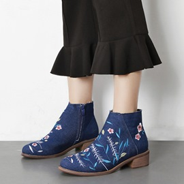 Ericdress Denim Floral Embroidery Ankle Boots