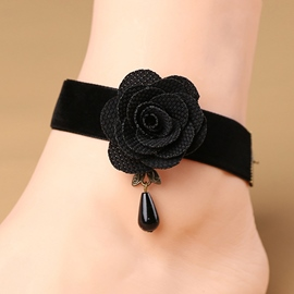 Ericdress Black Rose Sexy Lint Women's Anklet