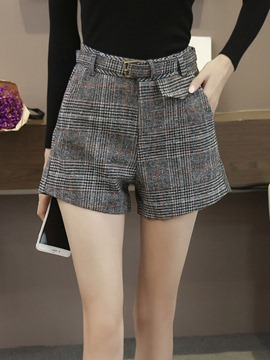 Ericdress Plaid Belt Pocket Shorts Pants