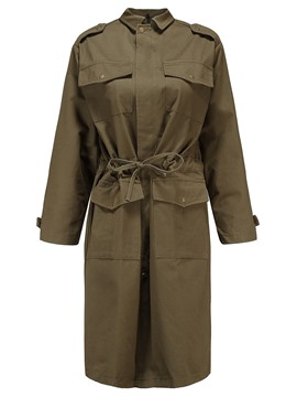 Ericdresss Lapel Lace-Up Plain Trench Coat