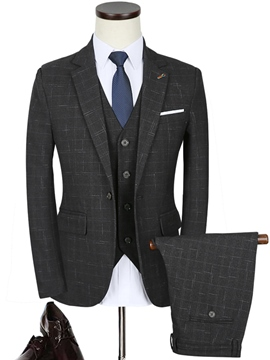 Ericdress Slim Fit Notched Lapel Plaid Three-Piece Vogue Men's Suit