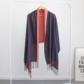 Ericdress Bicolor Wool Spinning Long Tassel Women's Scarf