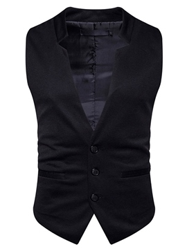 Ericdress Plain Cotton Single-Breasted V-Neck Casual Slim Men's Vest
